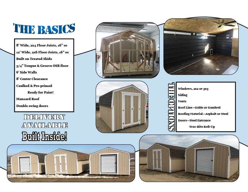 Brochure image of sheds available