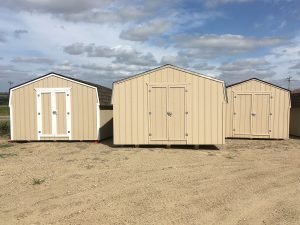 Sheds with different color trim at Moses Building Center