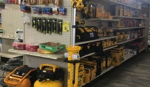 DeWalt tools isle and hoses available at Moses Building Center