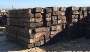 Railroad ties available for purchase at Moses Building Center