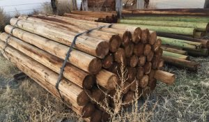 Wood fence posts available for purchase at Moses Building Center